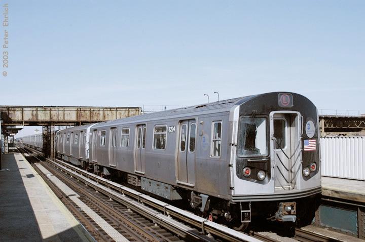 (123k, 720x478)<br><b>Country:</b> United States<br><b>City:</b> New York<br><b>System:</b> New York City Transit<br><b>Line:</b> BMT Canarsie Line<br><b>Location:</b> Livonia Avenue <br><b>Route:</b> L<br><b>Car:</b> R-143 (Kawasaki, 2001-2002) 8224 <br><b>Photo by:</b> Peter Ehrlich<br><b>Date:</b> 3/4/2003<br><b>Viewed (this week/total):</b> 0 / 4024