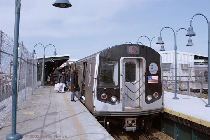 (126k, 720x478)<br><b>Country:</b> United States<br><b>City:</b> New York<br><b>System:</b> New York City Transit<br><b>Line:</b> BMT Canarsie Line<br><b>Location:</b> Broadway Junction <br><b>Route:</b> L<br><b>Car:</b> R-143 (Kawasaki, 2001-2002) 8237 <br><b>Photo by:</b> Peter Ehrlich<br><b>Date:</b> 3/4/2003<br><b>Viewed (this week/total):</b> 2 / 4278