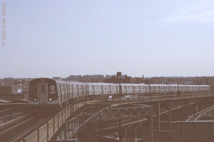 (77k, 720x478)<br><b>Country:</b> United States<br><b>City:</b> New York<br><b>System:</b> New York City Transit<br><b>Line:</b> BMT Canarsie Line<br><b>Location:</b> Broadway Junction <br><b>Route:</b> L<br><b>Car:</b> R-143 (Kawasaki, 2001-2002) 8245 <br><b>Photo by:</b> Peter Ehrlich<br><b>Date:</b> 3/4/2003<br><b>Viewed (this week/total):</b> 0 / 5245