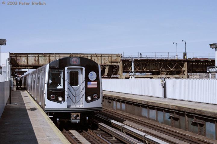 (127k, 720x478)<br><b>Country:</b> United States<br><b>City:</b> New York<br><b>System:</b> New York City Transit<br><b>Line:</b> BMT Canarsie Line<br><b>Location:</b> Livonia Avenue <br><b>Route:</b> L<br><b>Car:</b> R-143 (Kawasaki, 2001-2002) 8288 <br><b>Photo by:</b> Peter Ehrlich<br><b>Date:</b> 3/4/2003<br><b>Viewed (this week/total):</b> 0 / 5019