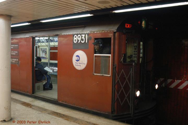 (105k, 720x478)<br><b>Country:</b> United States<br><b>City:</b> New York<br><b>System:</b> New York City Transit<br><b>Line:</b> IRT East Side Line<br><b>Location:</b> Bowling Green <br><b>Route:</b> 4<br><b>Car:</b> R-33 Main Line (St. Louis, 1962-63) 8931 <br><b>Photo by:</b> Peter Ehrlich<br><b>Date:</b> 3/4/2003<br><b>Viewed (this week/total):</b> 0 / 7409
