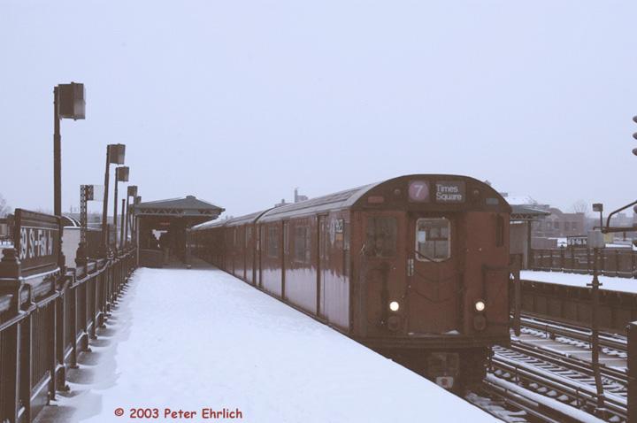(89k, 720x478)<br><b>Country:</b> United States<br><b>City:</b> New York<br><b>System:</b> New York City Transit<br><b>Line:</b> IRT Flushing Line<br><b>Location:</b> 69th Street/Fisk Avenue <br><b>Route:</b> 7<br><b>Car:</b> R-36 World's Fair (St. Louis, 1963-64) 9623 <br><b>Photo by:</b> Peter Ehrlich<br><b>Date:</b> 3/6/2003<br><b>Viewed (this week/total):</b> 0 / 3910