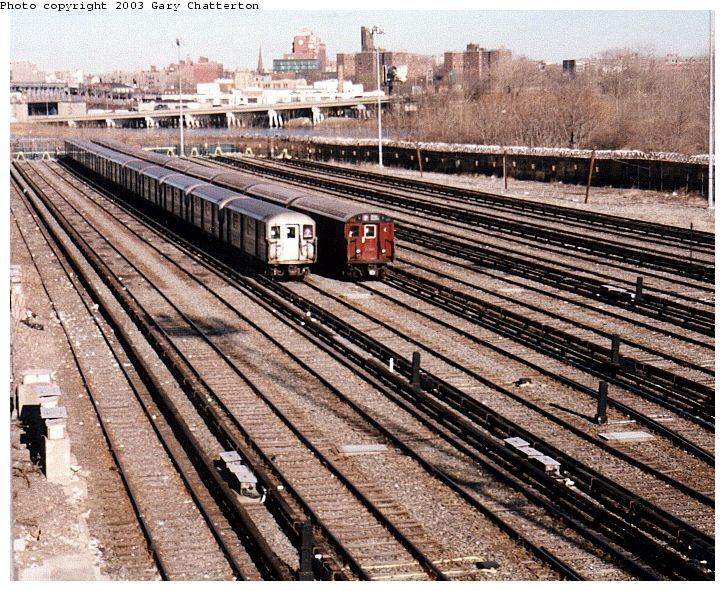 (139k, 725x591)<br><b>Country:</b> United States<br><b>City:</b> New York<br><b>System:</b> New York City Transit<br><b>Location:</b> Corona Yard<br><b>Car:</b> R-62A (Bombardier, 1984-1987)  2134 <br><b>Photo by:</b> Gary Chatterton<br><b>Date:</b> 1/20/2003<br><b>Notes:</b> With R36 9734<br><b>Viewed (this week/total):</b> 1 / 4740
