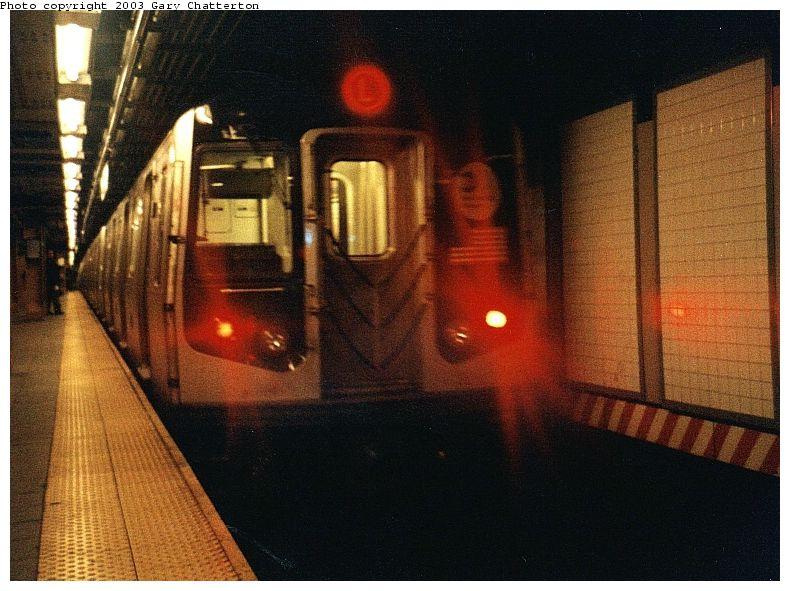 (91k, 790x591)<br><b>Country:</b> United States<br><b>City:</b> New York<br><b>System:</b> New York City Transit<br><b>Line:</b> BMT Canarsie Line<br><b>Location:</b> Union Square <br><b>Route:</b> L<br><b>Car:</b> R-143 (Kawasaki, 2001-2002) 8113 <br><b>Photo by:</b> Gary Chatterton<br><b>Date:</b> 1/2003<br><b>Viewed (this week/total):</b> 0 / 5937