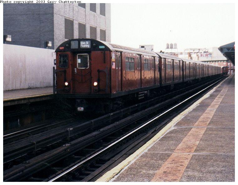 (83k, 760x591)<br><b>Country:</b> United States<br><b>City:</b> New York<br><b>System:</b> New York City Transit<br><b>Line:</b> IRT Flushing Line<br><b>Location:</b> Court House Square/45th Road <br><b>Route:</b> 7<br><b>Car:</b> R-36 World's Fair (St. Louis, 1963-64) 9696 <br><b>Photo by:</b> Gary Chatterton<br><b>Date:</b> 2/2003<br><b>Viewed (this week/total):</b> 0 / 2195