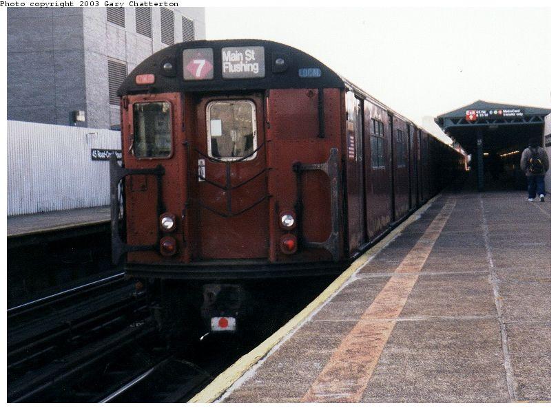 (87k, 810x596)<br><b>Country:</b> United States<br><b>City:</b> New York<br><b>System:</b> New York City Transit<br><b>Line:</b> IRT Flushing Line<br><b>Location:</b> Court House Square/45th Road <br><b>Route:</b> 7<br><b>Car:</b> R-36 World's Fair (St. Louis, 1963-64) 9708 <br><b>Photo by:</b> Gary Chatterton<br><b>Date:</b> 2/2003<br><b>Viewed (this week/total):</b> 0 / 2408