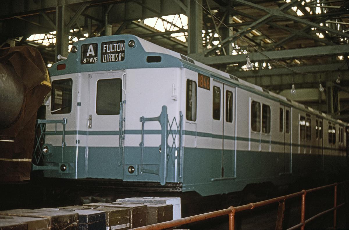 (379k, 1024x683)<br><b>Country:</b> United States<br><b>City:</b> New York<br><b>System:</b> New York City Transit<br><b>Location:</b> Coney Island Yard<br><b>Car:</b> R-10 (American Car & Foundry, 1948) 1846 <br><b>Collection of:</b> David Pirmann<br><b>Date:</b> 1/15/1966<br><b>Viewed (this week/total):</b> 0 / 4778