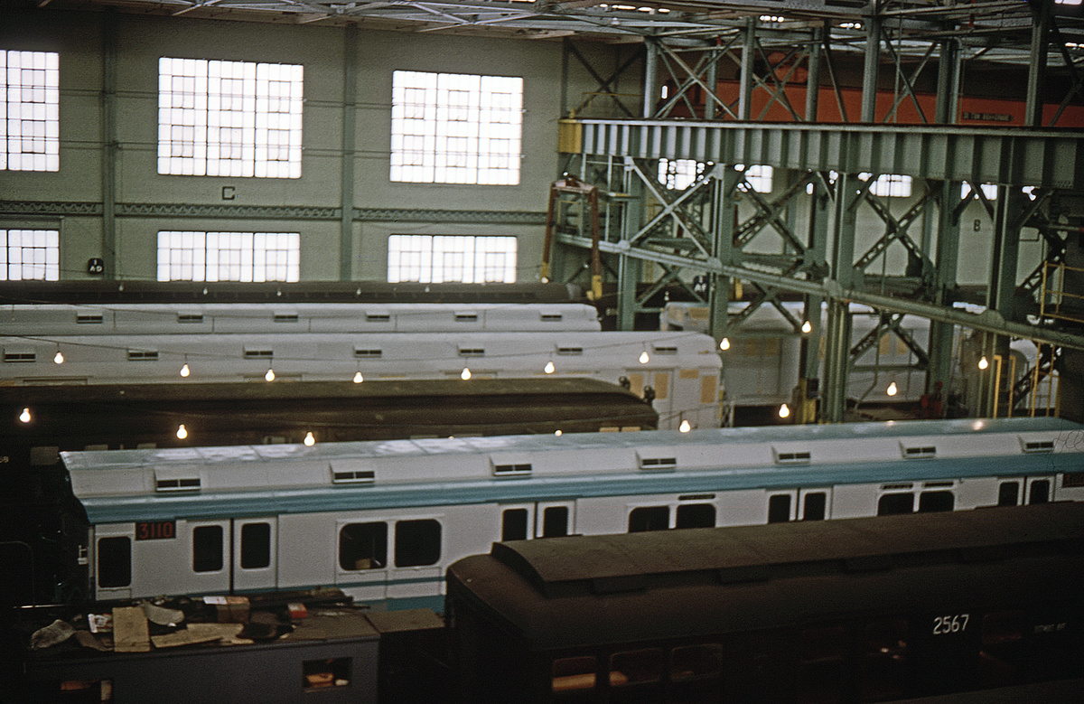 (336k, 1024x683)<br><b>Country:</b> United States<br><b>City:</b> New York<br><b>System:</b> New York City Transit<br><b>Location:</b> Coney Island Shop/Overhaul & Repair Shop<br><b>Car:</b> R-10 (American Car & Foundry, 1948) 3110 <br><b>Collection of:</b> David Pirmann<br><b>Date:</b> 1/29/1965<br><b>Viewed (this week/total):</b> 3 / 4808
