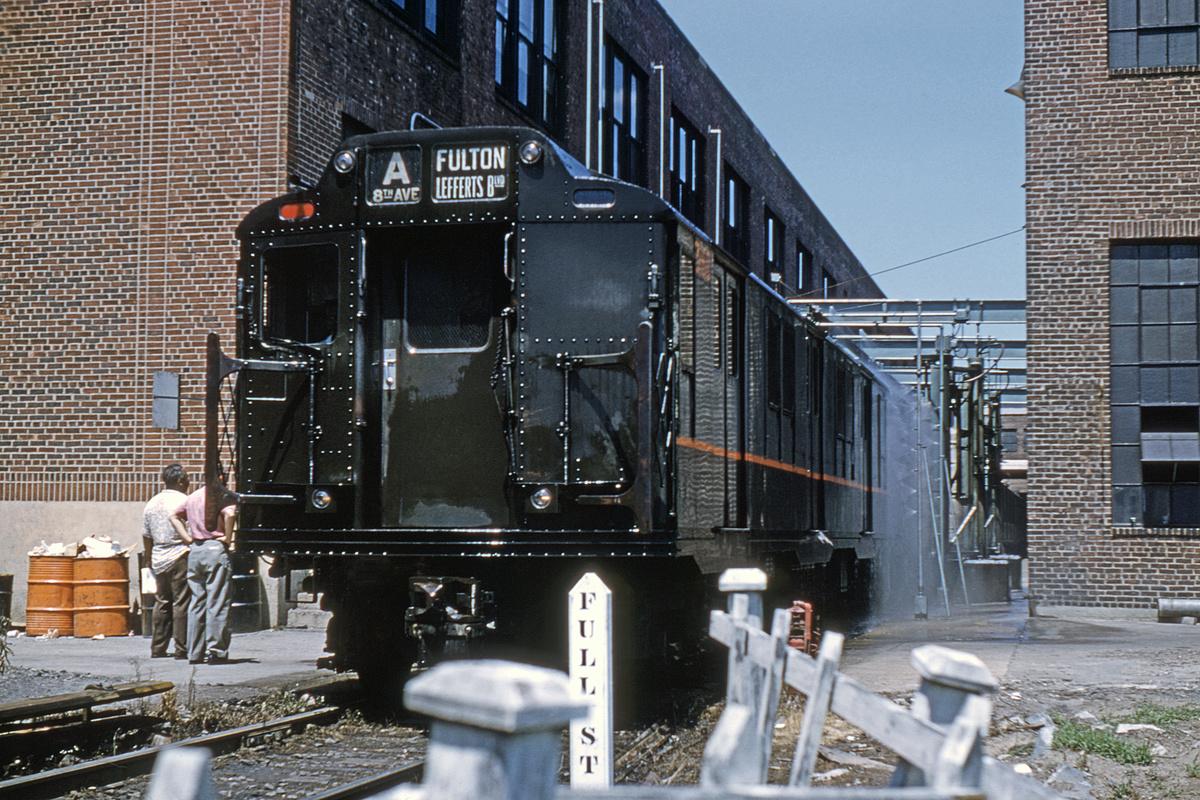 (478k, 1024x683)<br><b>Country:</b> United States<br><b>City:</b> New York<br><b>System:</b> New York City Transit<br><b>Location:</b> 207th Street Yard<br><b>Car:</b> R-10 (American Car & Foundry, 1948) 3160 <br><b>Collection of:</b> David Pirmann<br><b>Date:</b> 7/16/1960<br><b>Notes:</b> Car Wash<br><b>Viewed (this week/total):</b> 0 / 5919