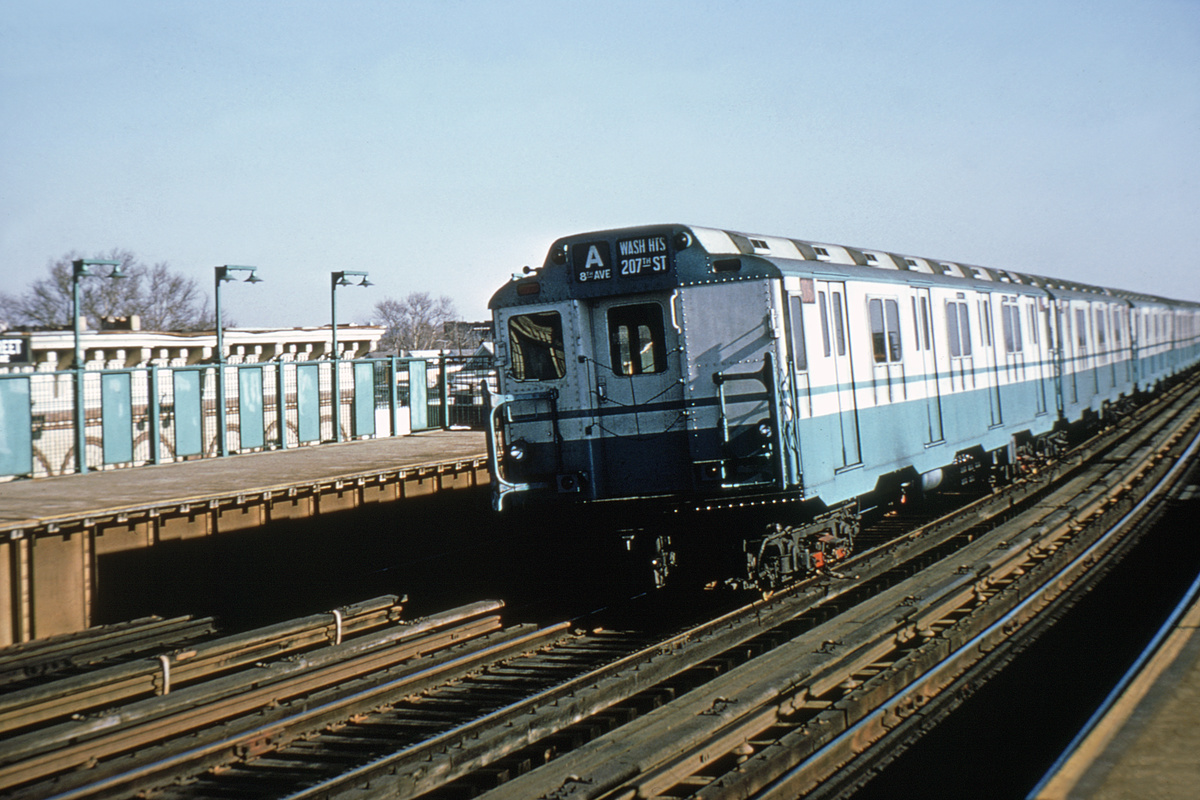 (341k, 1024x682)<br><b>Country:</b> United States<br><b>City:</b> New York<br><b>System:</b> New York City Transit<br><b>Line:</b> IND Fulton Street Line<br><b>Location:</b> 104th Street/Oxford Ave. <br><b>Route:</b> A<br><b>Car:</b> R-10 (American Car & Foundry, 1948) 3067 <br><b>Collection of:</b> David Pirmann<br><b>Viewed (this week/total):</b> 0 / 5635