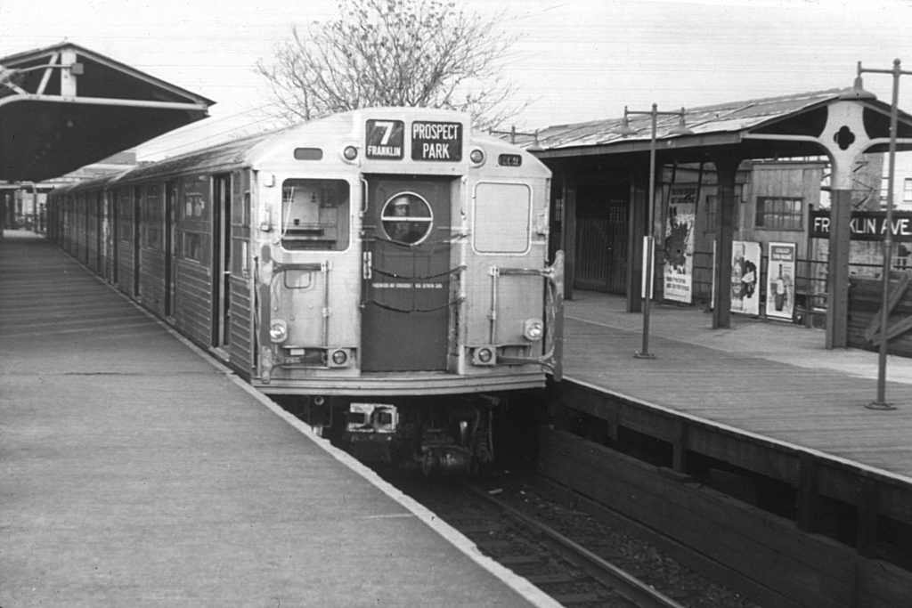 (218k, 1024x683)<br><b>Country:</b> United States<br><b>City:</b> New York<br><b>System:</b> New York City Transit<br><b>Line:</b> BMT Franklin<br><b>Location:</b> Franklin Avenue <br><b>Car:</b> R-11 (Budd, 1949)  <br><b>Collection of:</b> David Pirmann<br><b>Viewed (this week/total):</b> 1 / 4240
