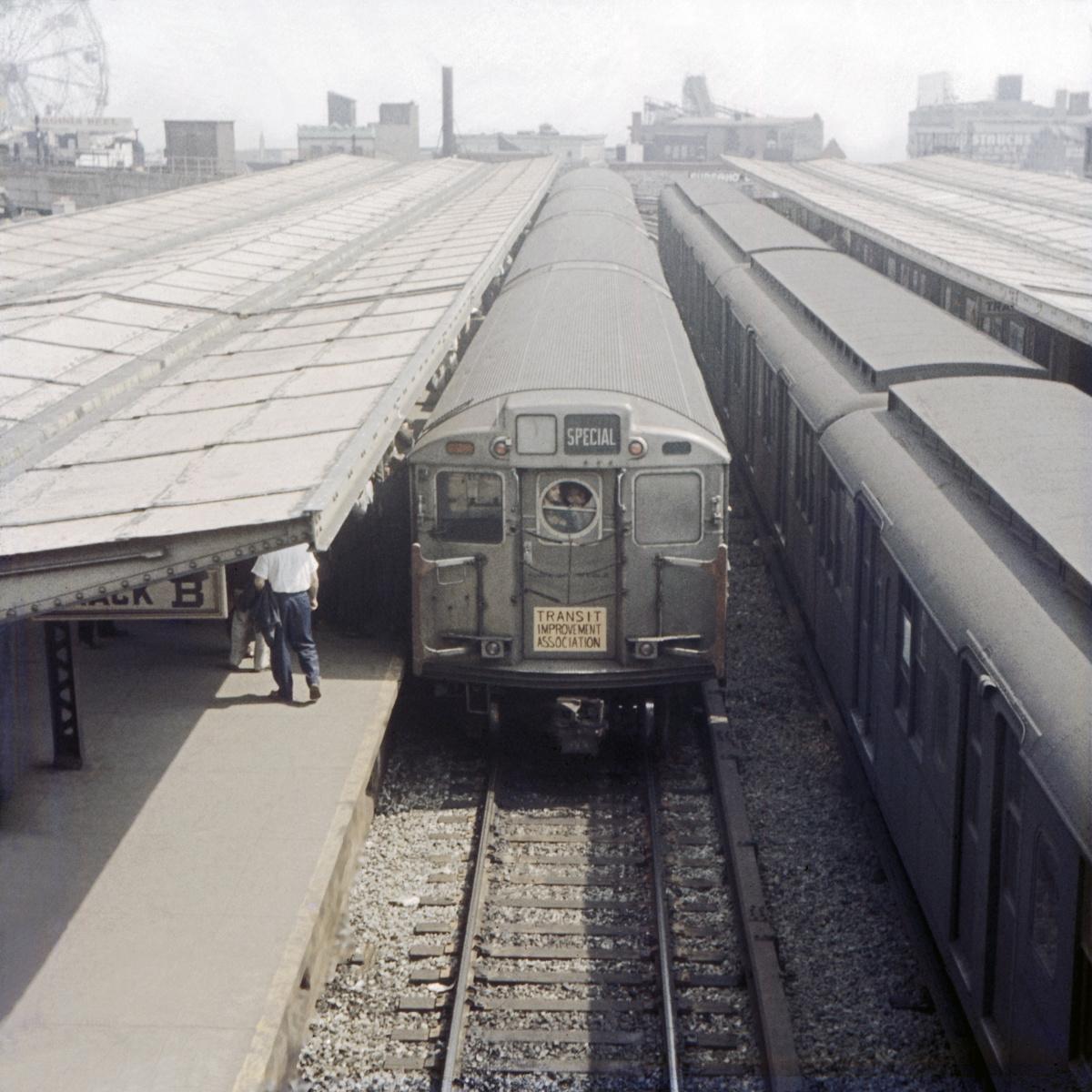 (515k, 1024x683)<br><b>Country:</b> United States<br><b>City:</b> New York<br><b>System:</b> New York City Transit<br><b>Location:</b> Coney Island/Stillwell Avenue<br><b>Route:</b> Fan Trip<br><b>Car:</b> R-11 (Budd, 1949)  <br><b>Collection of:</b> David Pirmann<br><b>Date:</b> 5/26/1957<br><b>Viewed (this week/total):</b> 1 / 4320