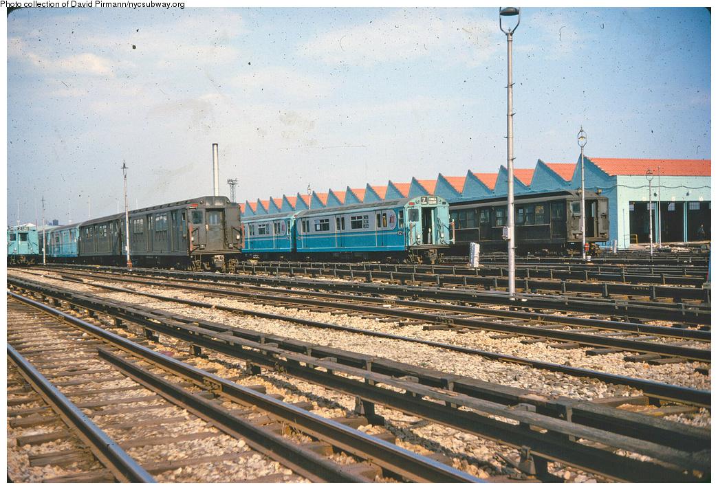 (512k, 1044x713)<br><b>Country:</b> United States<br><b>City:</b> New York<br><b>System:</b> New York City Transit<br><b>Location:</b> Corona Yard<br><b>Car:</b> R-12 (American Car & Foundry, 1948) 5703 <br><b>Collection of:</b> David Pirmann<br><b>Notes:</b> With R33 9321<br><b>Viewed (this week/total):</b> 0 / 3358