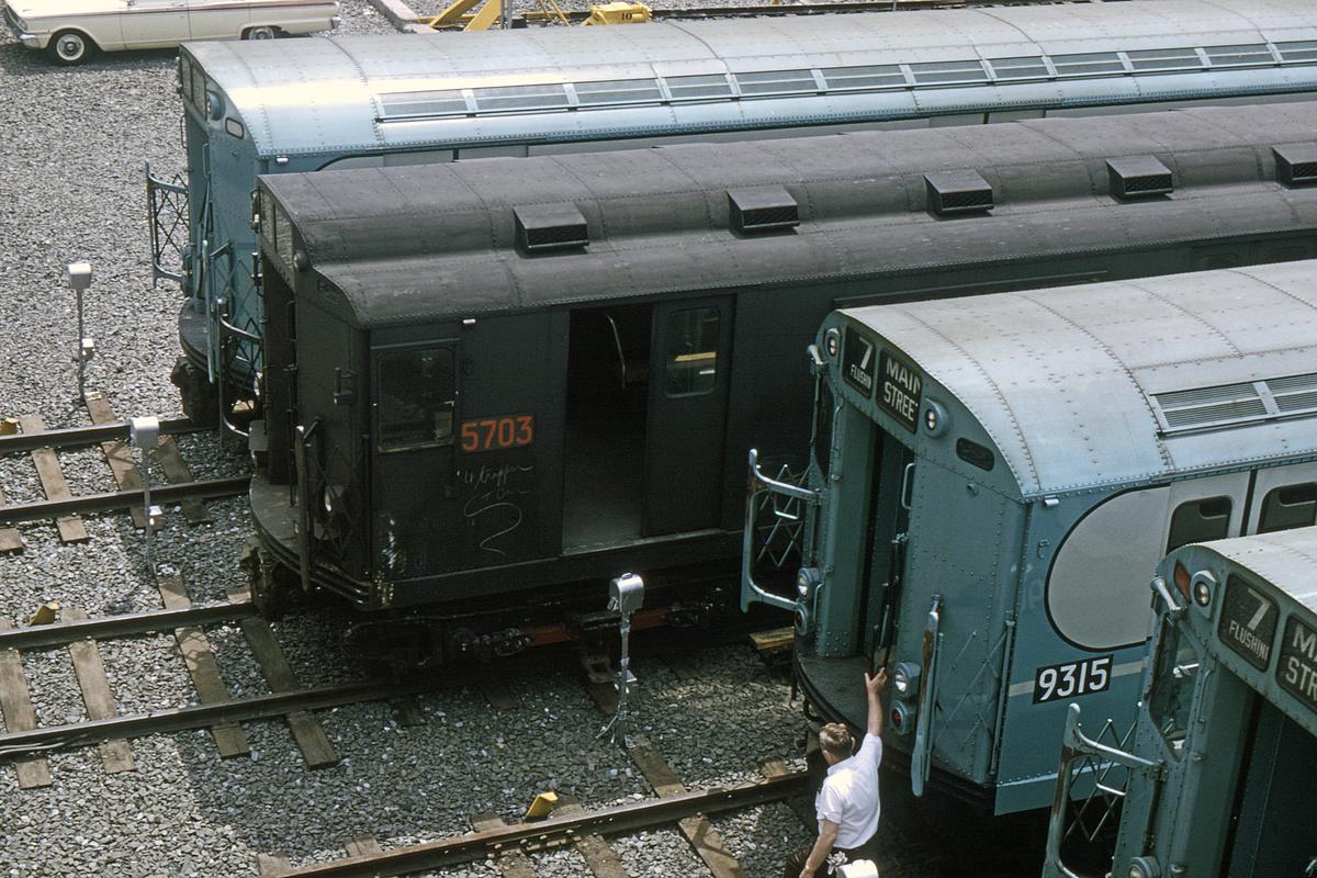 (579k, 1024x683)<br><b>Country:</b> United States<br><b>City:</b> New York<br><b>System:</b> New York City Transit<br><b>Location:</b> Corona Yard<br><b>Car:</b> R-12 (American Car & Foundry, 1948) 5703 <br><b>Collection of:</b> David Pirmann<br><b>Viewed (this week/total):</b> 3 / 3251
