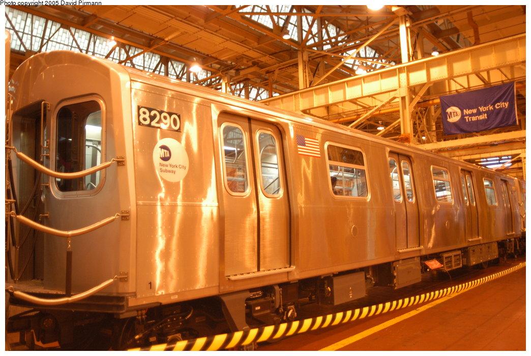 (221k, 1044x701)<br><b>Country:</b> United States<br><b>City:</b> New York<br><b>System:</b> New York City Transit<br><b>Location:</b> Coney Island Shop/Overhaul & Repair Shop<br><b>Car:</b> R-143 (Kawasaki, 2001-2002) 8290 <br><b>Photo by:</b> David Pirmann<br><b>Date:</b> 4/5/2003<br><b>Viewed (this week/total):</b> 0 / 4808