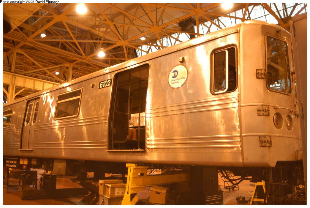 (204k, 1044x701)<br><b>Country:</b> United States<br><b>City:</b> New York<br><b>System:</b> New York City Transit<br><b>Location:</b> Coney Island Shop/Overhaul & Repair Shop<br><b>Car:</b> R-46 (Pullman-Standard, 1974-75) 6102 <br><b>Photo by:</b> David Pirmann<br><b>Date:</b> 4/5/2003<br><b>Viewed (this week/total):</b> 0 / 3118