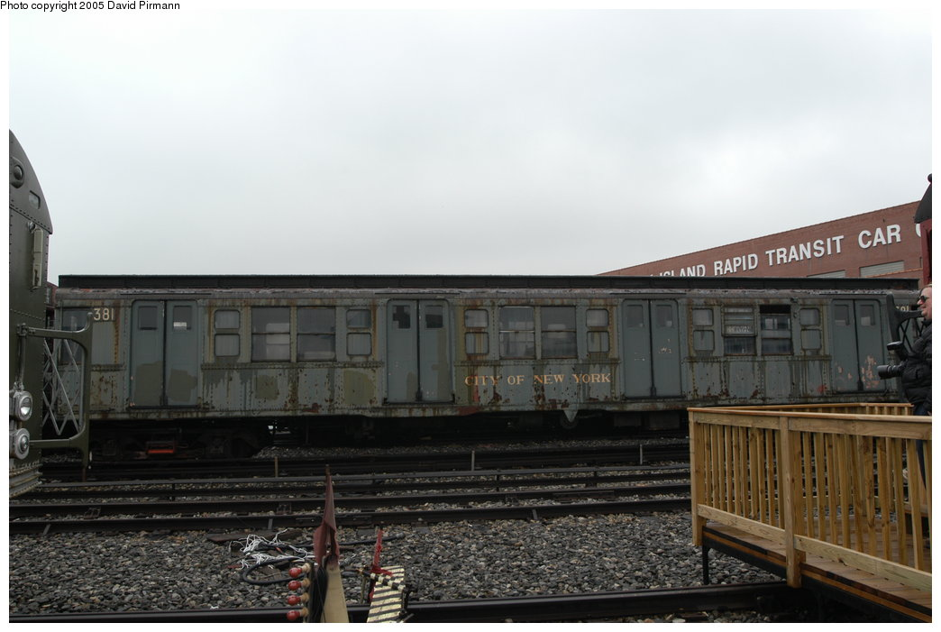 (165k, 1044x701)<br><b>Country:</b> United States<br><b>City:</b> New York<br><b>System:</b> New York City Transit<br><b>Location:</b> Coney Island Yard-Museum Yard<br><b>Car:</b> R-1 (American Car & Foundry, 1930-1931) 381 <br><b>Photo by:</b> David Pirmann<br><b>Date:</b> 4/5/2003<br><b>Viewed (this week/total):</b> 5 / 6663