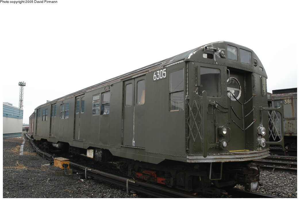 (148k, 1044x701)<br><b>Country:</b> United States<br><b>City:</b> New York<br><b>System:</b> New York City Transit<br><b>Location:</b> Coney Island Yard-Museum Yard<br><b>Car:</b> R-16 (American Car & Foundry, 1955) 6305 <br><b>Photo by:</b> David Pirmann<br><b>Date:</b> 4/5/2003<br><b>Viewed (this week/total):</b> 17 / 13798