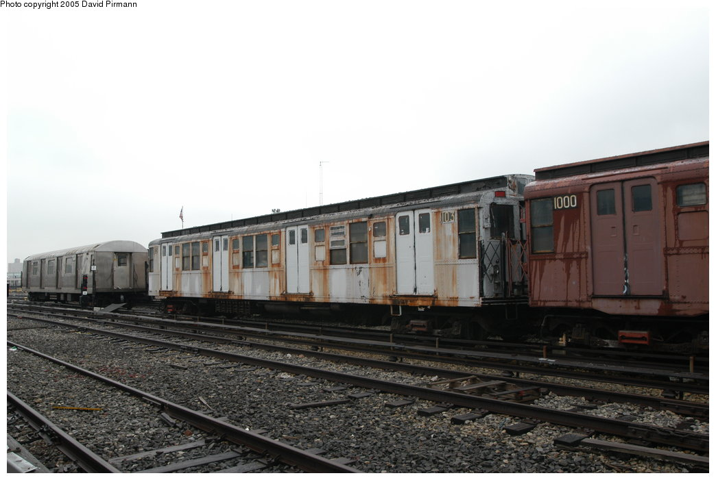 (170k, 1044x701)<br><b>Country:</b> United States<br><b>City:</b> New York<br><b>System:</b> New York City Transit<br><b>Location:</b> Coney Island Yard-Museum Yard<br><b>Car:</b> R-1 (American Car & Foundry, 1930-1931) 103 <br><b>Photo by:</b> David Pirmann<br><b>Date:</b> 4/5/2003<br><b>Viewed (this week/total):</b> 3 / 11136