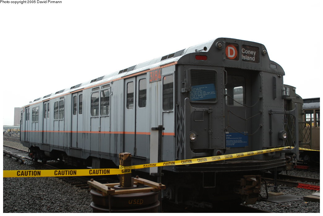 (155k, 1044x701)<br><b>Country:</b> United States<br><b>City:</b> New York<br><b>System:</b> New York City Transit<br><b>Location:</b> Coney Island Yard-Museum Yard<br><b>Car:</b> R-10 (American Car & Foundry, 1948) 3184 <br><b>Photo by:</b> David Pirmann<br><b>Date:</b> 4/5/2003<br><b>Viewed (this week/total):</b> 3 / 13248