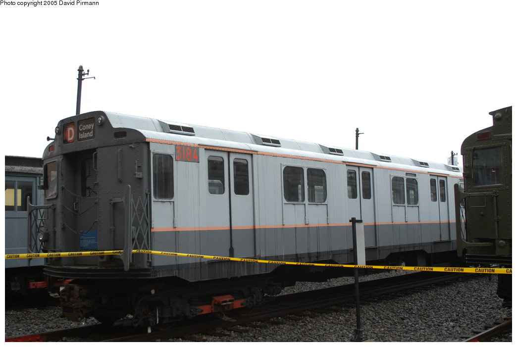 (136k, 1044x701)<br><b>Country:</b> United States<br><b>City:</b> New York<br><b>System:</b> New York City Transit<br><b>Location:</b> Coney Island Yard-Museum Yard<br><b>Car:</b> R-10 (American Car & Foundry, 1948) 3184 <br><b>Photo by:</b> David Pirmann<br><b>Date:</b> 4/5/2003<br><b>Viewed (this week/total):</b> 2 / 3879