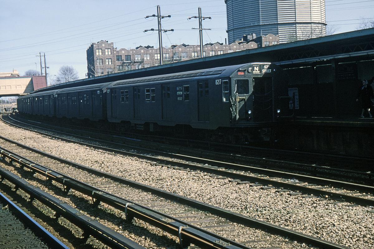 (465k, 1024x682)<br><b>Country:</b> United States<br><b>City:</b> New York<br><b>System:</b> New York City Transit<br><b>Line:</b> BMT Sea Beach Line<br><b>Location:</b> 8th Avenue <br><b>Route:</b> N<br><b>Car:</b> R-27 (St. Louis, 1960)  8217 <br><b>Collection of:</b> David Pirmann<br><b>Date:</b> 5/2/1964<br><b>Viewed (this week/total):</b> 3 / 3697