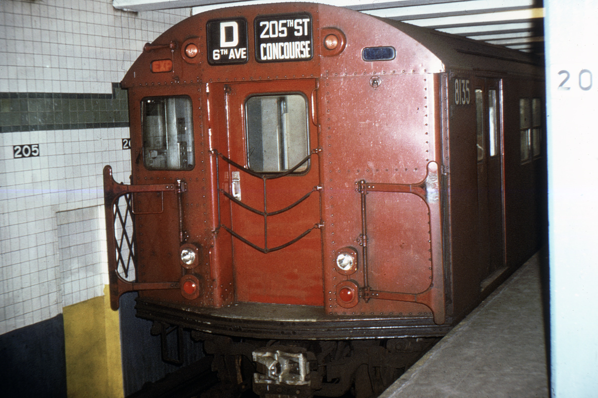 (354k, 1024x682)<br><b>Country:</b> United States<br><b>City:</b> New York<br><b>System:</b> New York City Transit<br><b>Line:</b> IND Concourse Line<br><b>Location:</b> 205th Street <br><b>Route:</b> D<br><b>Car:</b> R-27 (St. Louis, 1960)  8135 <br><b>Collection of:</b> David Pirmann<br><b>Viewed (this week/total):</b> 0 / 4033