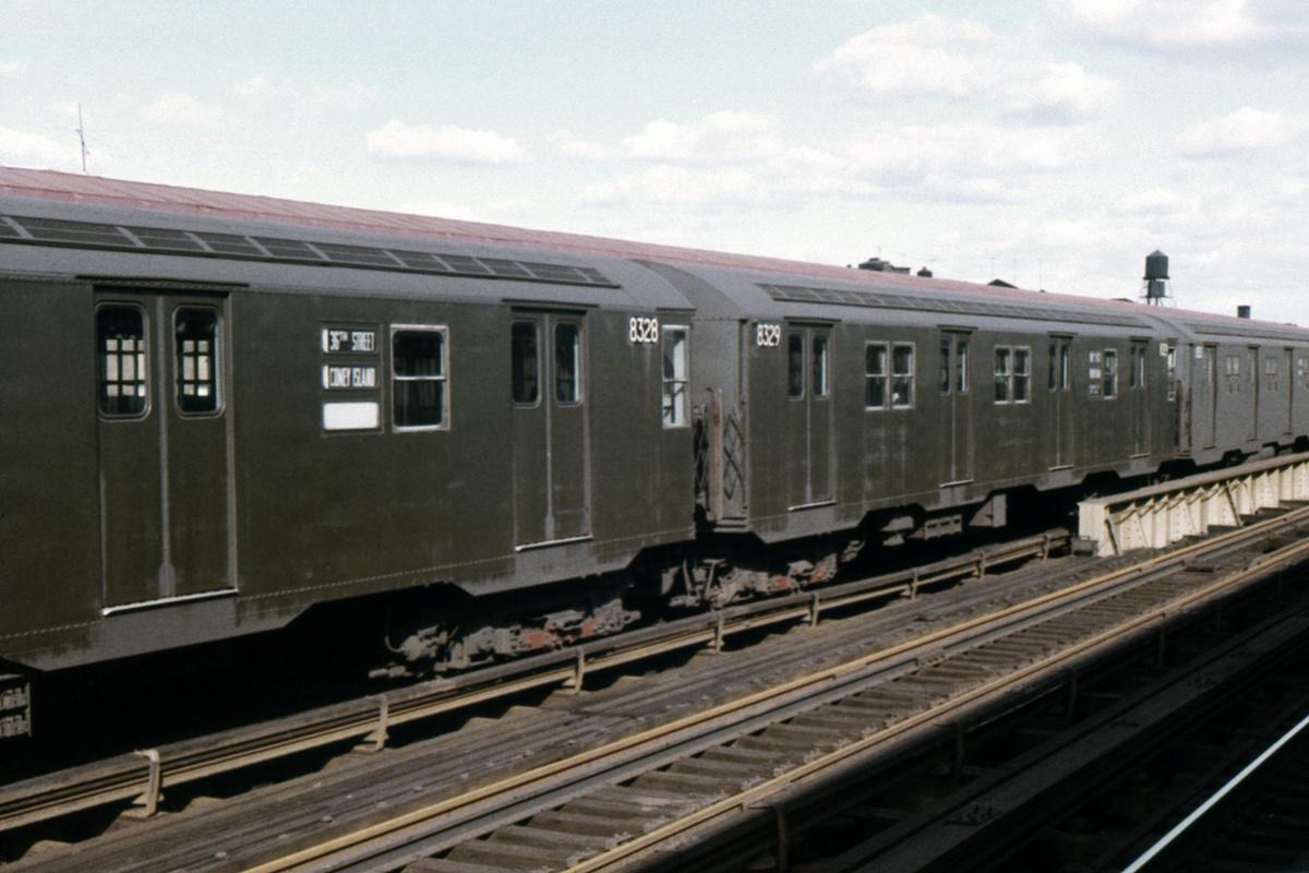 (316k, 1024x682)<br><b>Country:</b> United States<br><b>City:</b> New York<br><b>System:</b> New York City Transit<br><b>Line:</b> BMT West End Line<br><b>Location:</b> 55th Street <br><b>Car:</b> R-30 (St. Louis, 1961) 8328 <br><b>Collection of:</b> David Pirmann<br><b>Date:</b> 11/3/1963<br><b>Viewed (this week/total):</b> 3 / 3974