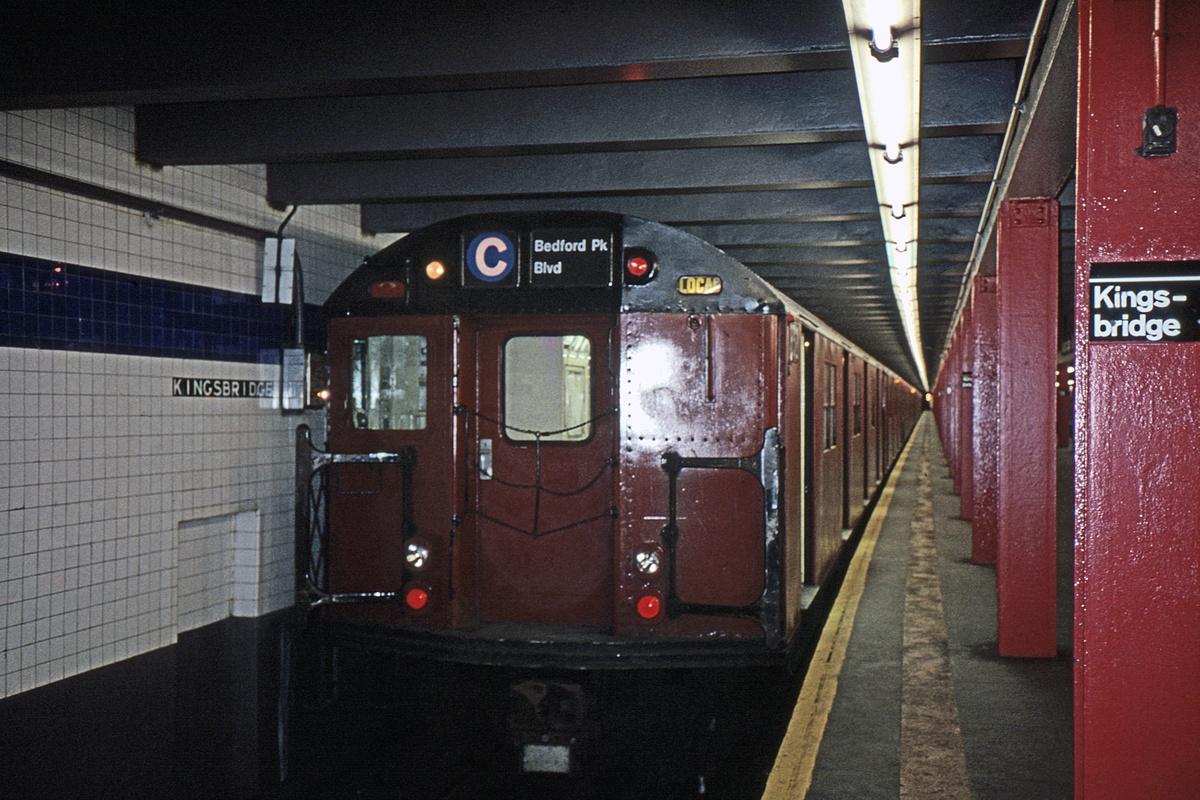 (329k, 1024x682)<br><b>Country:</b> United States<br><b>City:</b> New York<br><b>System:</b> New York City Transit<br><b>Line:</b> IND Concourse Line<br><b>Location:</b> Kingsbridge Road <br><b>Route:</b> C<br><b>Car:</b> R-30 (St. Louis, 1961)  <br><b>Photo by:</b> Glenn L. Rowe<br><b>Collection of:</b> David Pirmann<br><b>Date:</b> 4/5/1990<br><b>Viewed (this week/total):</b> 4 / 10117