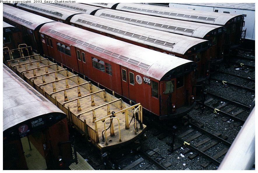 (126k, 885x596)<br><b>Country:</b> United States<br><b>City:</b> New York<br><b>System:</b> New York City Transit<br><b>Location:</b> Corona Yard<br><b>Car:</b> R-36 World's Fair (St. Louis, 1963-64) 9355 <br><b>Photo by:</b> Gary Chatterton<br><b>Date:</b> 4/3/2003<br><b>Viewed (this week/total):</b> 0 / 2902
