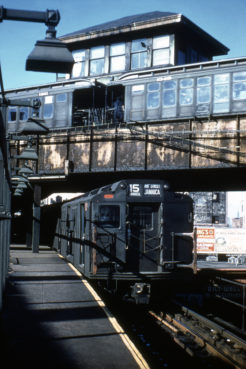 (468k, 698x1045)<br><b>Country:</b> United States<br><b>City:</b> New York<br><b>System:</b> New York City Transit<br><b>Line:</b> BMT Nassau Street/Jamaica Line<br><b>Location:</b> Myrtle Avenue <br><b>Route:</b> BMT 15<br><b>Car:</b> R-10 (American Car & Foundry, 1948) 3337 <br><b>Photo by:</b> Doug Grotjahn<br><b>Collection of:</b> David Pirmann<br><b>Viewed (this week/total):</b> 0 / 4420