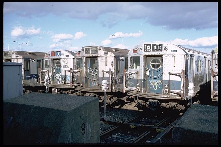 (127k, 768x512)<br><b>Country:</b> United States<br><b>City:</b> New York<br><b>System:</b> New York City Transit<br><b>Location:</b> Rockaway Park Yard<br><b>Car:</b> R-16 (American Car & Foundry, 1955) 6466 <br><b>Photo by:</b> Doug Grotjahn<br><b>Collection of:</b> Joe Testagrose<br><b>Date:</b> 10/14/1979<br><b>Viewed (this week/total):</b> 0 / 6020