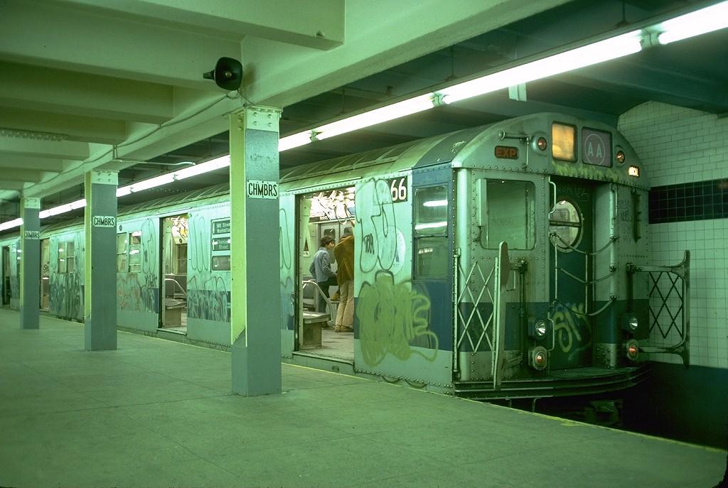 (194k, 1024x687)<br><b>Country:</b> United States<br><b>City:</b> New York<br><b>System:</b> New York City Transit<br><b>Line:</b> IND 8th Avenue Line<br><b>Location:</b> Chambers Street/World Trade Center <br><b>Route:</b> AA<br><b>Car:</b> R-16 (American Car & Foundry, 1955) 6466 <br><b>Photo by:</b> Doug Grotjahn<br><b>Collection of:</b> Joe Testagrose<br><b>Date:</b> 10/24/1976<br><b>Viewed (this week/total):</b> 6 / 4734