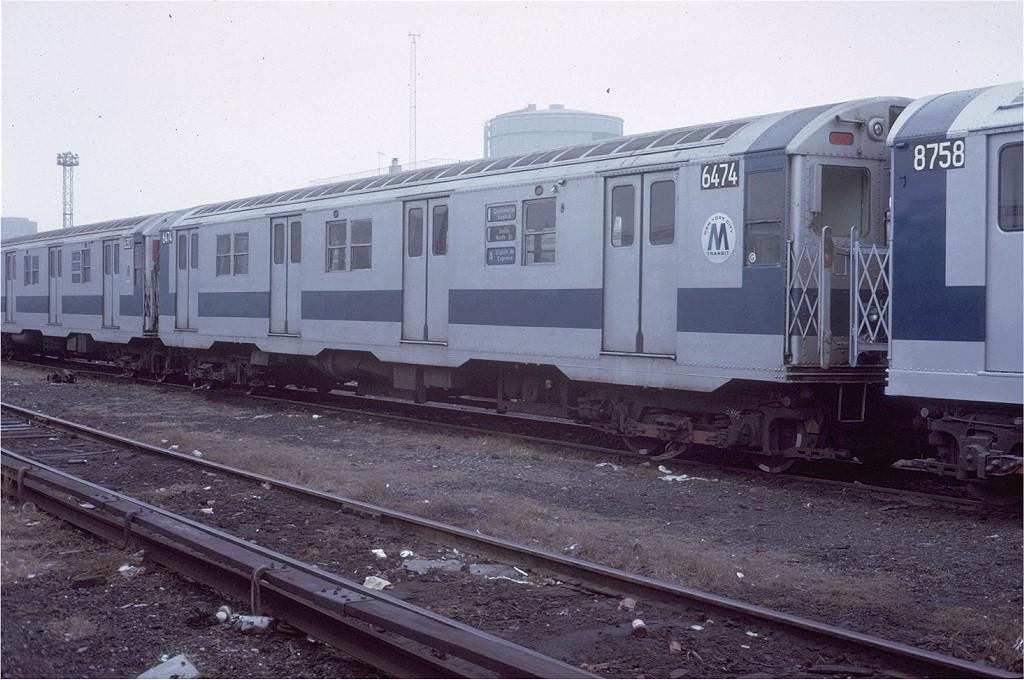 (196k, 1024x680)<br><b>Country:</b> United States<br><b>City:</b> New York<br><b>System:</b> New York City Transit<br><b>Location:</b> Coney Island Yard<br><b>Car:</b> R-16 (American Car & Foundry, 1955) 6474 <br><b>Photo by:</b> Steve Zabel<br><b>Collection of:</b> Joe Testagrose<br><b>Date:</b> 3/7/1973<br><b>Viewed (this week/total):</b> 5 / 3385