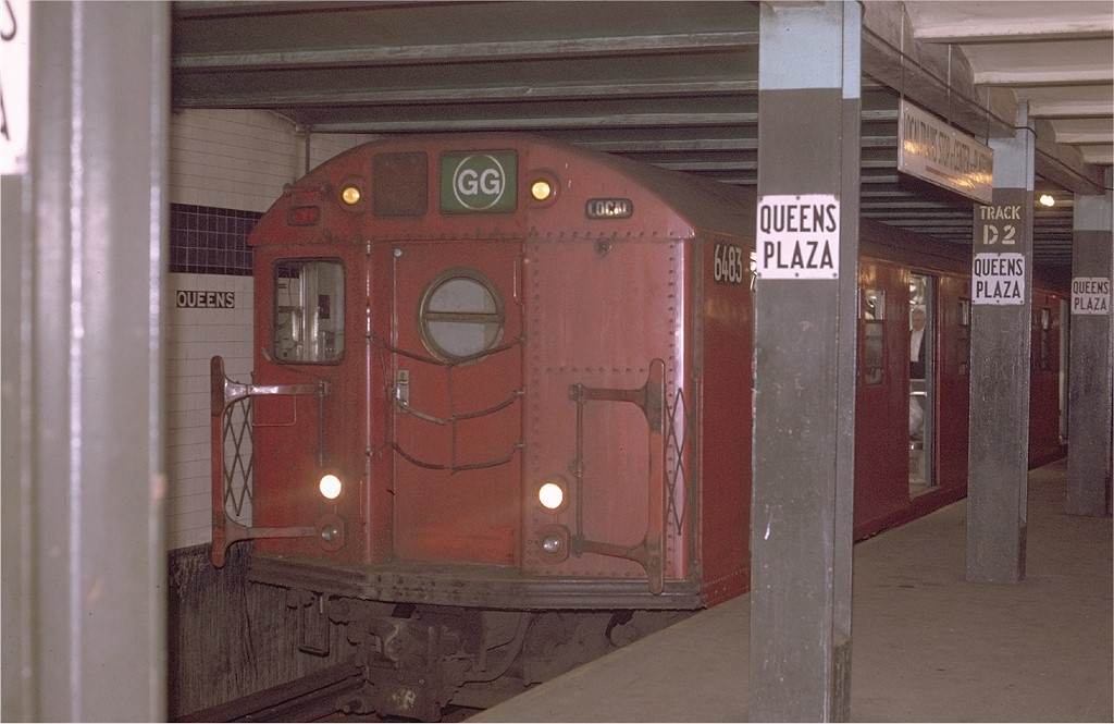 (163k, 1024x665)<br><b>Country:</b> United States<br><b>City:</b> New York<br><b>System:</b> New York City Transit<br><b>Line:</b> IND Queens Boulevard Line<br><b>Location:</b> Queens Plaza <br><b>Route:</b> GG<br><b>Car:</b> R-16 (American Car & Foundry, 1955) 6483 <br><b>Photo by:</b> Joe Testagrose<br><b>Date:</b> 5/12/1970<br><b>Viewed (this week/total):</b> 0 / 3989
