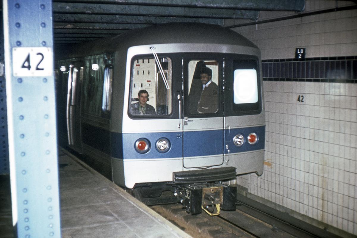 (350k, 1024x683)<br><b>Country:</b> United States<br><b>City:</b> New York<br><b>System:</b> New York City Transit<br><b>Line:</b> IND 8th Avenue Line<br><b>Location:</b> 42nd Street/Port Authority Bus Terminal (Lower Level) <br><b>Car:</b> R-44 (St. Louis, 1971-73)  <br><b>Collection of:</b> David Pirmann<br><b>Viewed (this week/total):</b> 1 / 16404