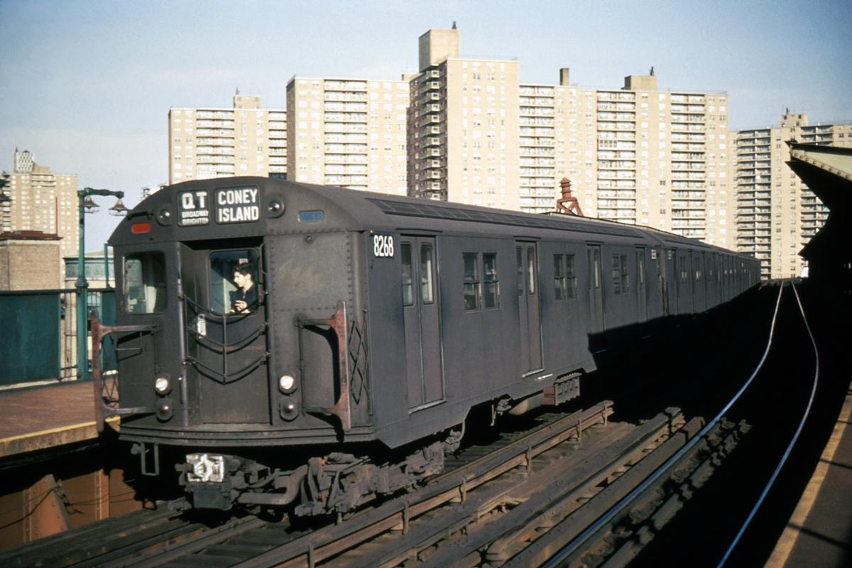 (366k, 1024x683)<br><b>Country:</b> United States<br><b>City:</b> New York<br><b>System:</b> New York City Transit<br><b>Line:</b> BMT Brighton Line<br><b>Location:</b> West 8th Street <br><b>Route:</b> QT<br><b>Car:</b> R-30 (St. Louis, 1961) 8268 <br><b>Photo by:</b> Richard Short<br><b>Collection of:</b> David Pirmann<br><b>Date:</b> 10/1966<br><b>Viewed (this week/total):</b> 0 / 4985