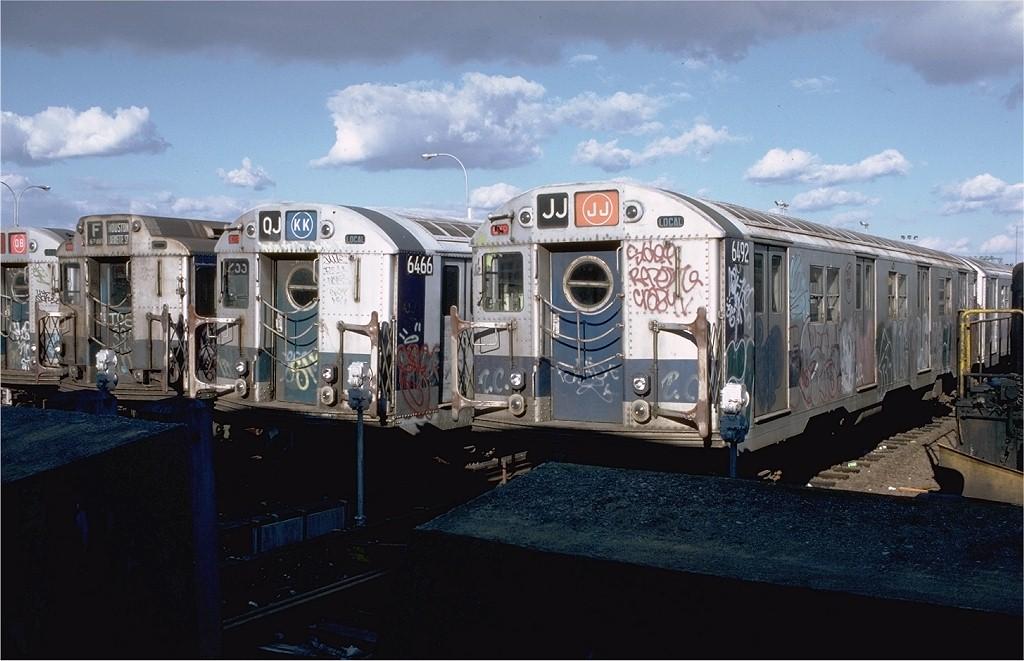 (175k, 1024x661)<br><b>Country:</b> United States<br><b>City:</b> New York<br><b>System:</b> New York City Transit<br><b>Location:</b> Rockaway Park Yard<br><b>Car:</b> R-16 (American Car & Foundry, 1955) 6492 <br><b>Photo by:</b> Doug Grotjahn<br><b>Collection of:</b> Joe Testagrose<br><b>Date:</b> 10/14/1979<br><b>Viewed (this week/total):</b> 0 / 5529