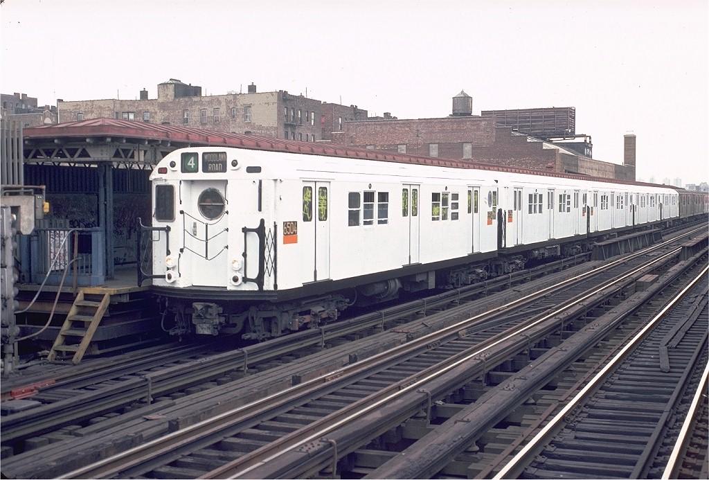 (210k, 1024x693)<br><b>Country:</b> United States<br><b>City:</b> New York<br><b>System:</b> New York City Transit<br><b>Line:</b> IRT Woodlawn Line<br><b>Location:</b> 167th Street <br><b>Route:</b> 4<br><b>Car:</b> R-17 (St. Louis, 1955-56) 6504 <br><b>Photo by:</b> Doug Grotjahn<br><b>Collection of:</b> Joe Testagrose<br><b>Date:</b> 11/28/1982<br><b>Viewed (this week/total):</b> 1 / 6600