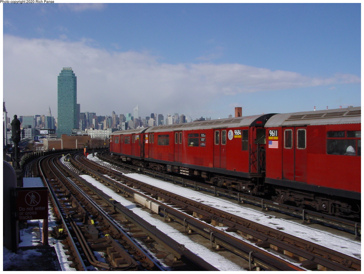 (72k, 820x620)<br><b>Country:</b> United States<br><b>City:</b> New York<br><b>System:</b> New York City Transit<br><b>Line:</b> IRT Flushing Line<br><b>Location:</b> 33rd Street/Rawson Street <br><b>Route:</b> 7<br><b>Car:</b> R-36 World's Fair (St. Louis, 1963-64) 9684-9611 <br><b>Photo by:</b> Richard Panse<br><b>Date:</b> 2/12/2003<br><b>Viewed (this week/total):</b> 1 / 3885