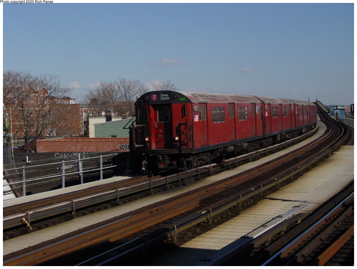 (76k, 820x620)<br><b>Country:</b> United States<br><b>City:</b> New York<br><b>System:</b> New York City Transit<br><b>Line:</b> IRT Flushing Line<br><b>Location:</b> 103rd Street/Corona Plaza <br><b>Route:</b> 7<br><b>Car:</b> R-36 Main Line (St. Louis, 1964) 9527 <br><b>Photo by:</b> Richard Panse<br><b>Date:</b> 1/20/2003<br><b>Viewed (this week/total):</b> 0 / 4202