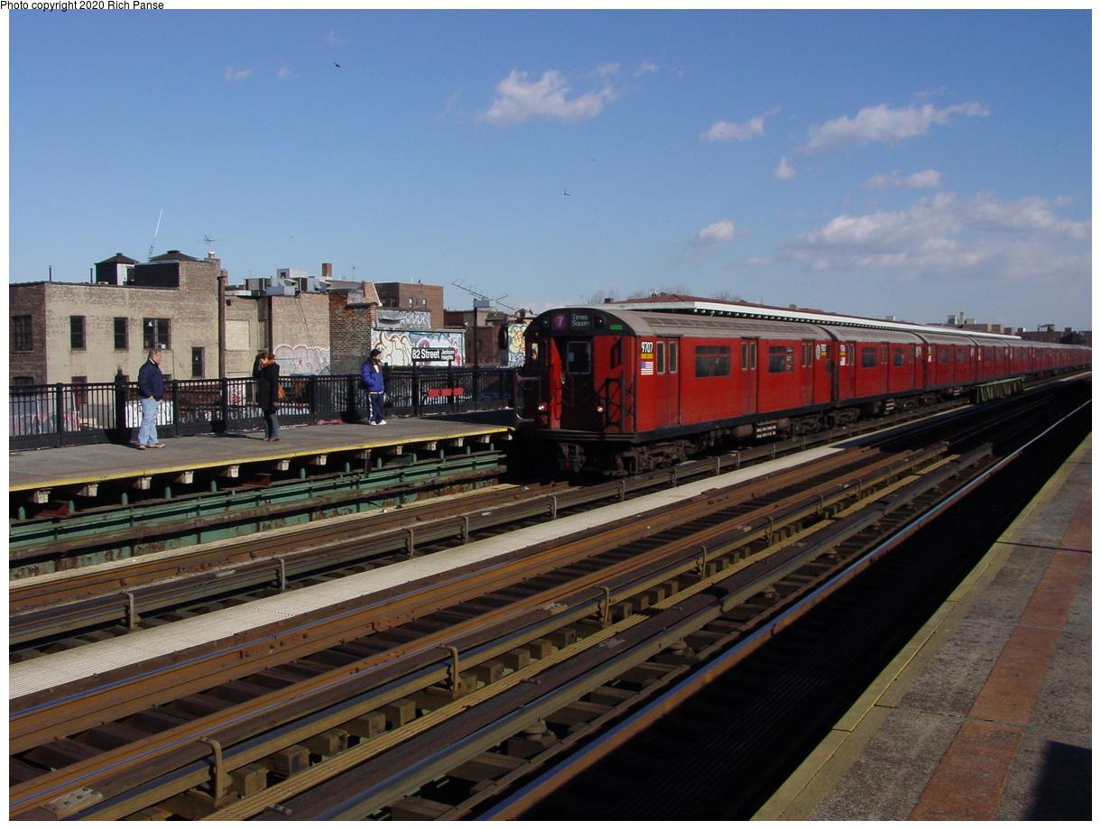(80k, 820x620)<br><b>Country:</b> United States<br><b>City:</b> New York<br><b>System:</b> New York City Transit<br><b>Line:</b> IRT Flushing Line<br><b>Location:</b> 82nd Street/Jackson Heights <br><b>Route:</b> 7<br><b>Car:</b> R-36 World's Fair (St. Louis, 1963-64) 9707 <br><b>Photo by:</b> Richard Panse<br><b>Date:</b> 1/20/2003<br><b>Viewed (this week/total):</b> 0 / 3427