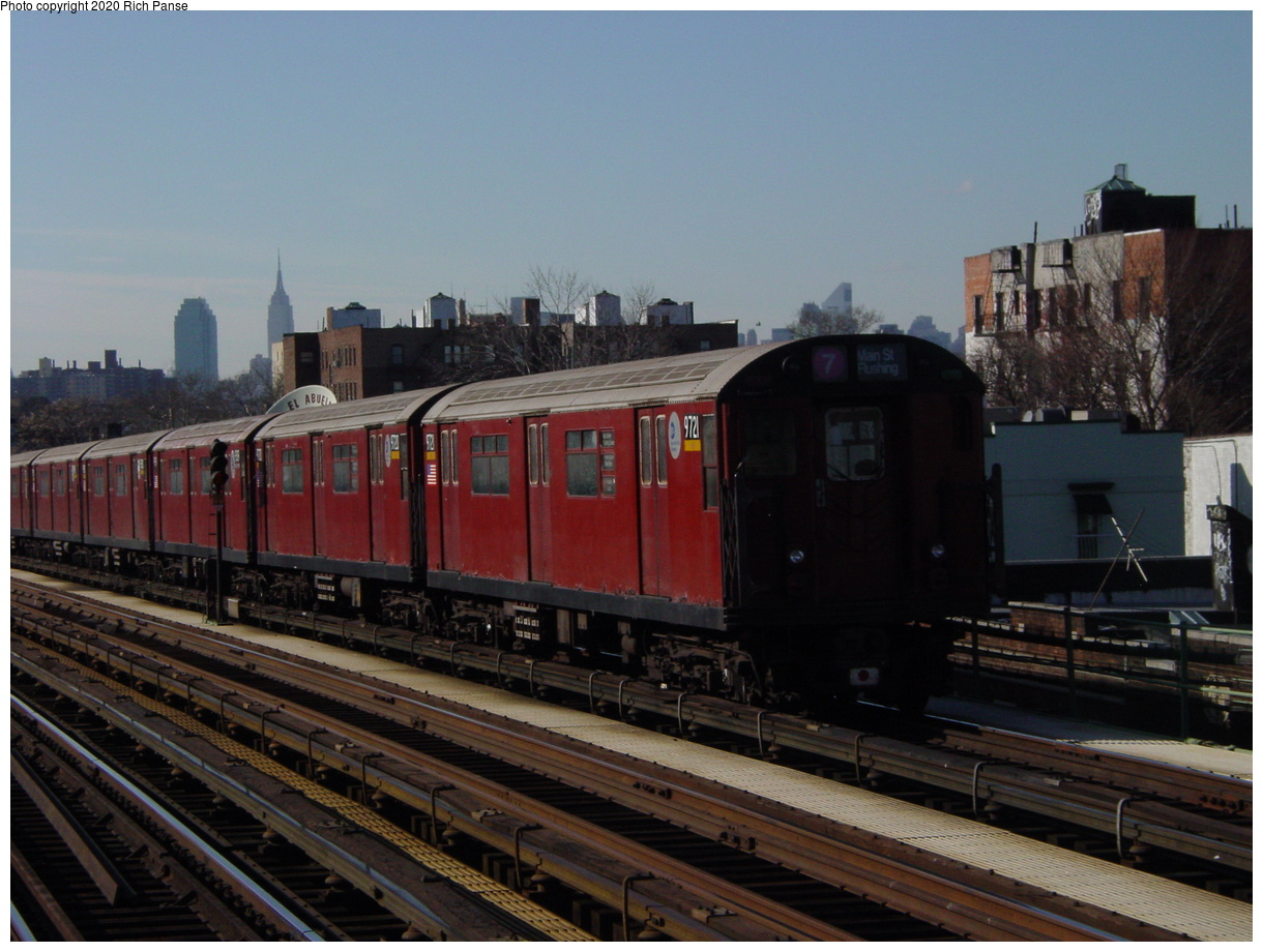 (69k, 820x620)<br><b>Country:</b> United States<br><b>City:</b> New York<br><b>System:</b> New York City Transit<br><b>Line:</b> IRT Flushing Line<br><b>Location:</b> 82nd Street/Jackson Heights <br><b>Route:</b> 7<br><b>Car:</b> R-36 World's Fair (St. Louis, 1963-64) 9721 <br><b>Photo by:</b> Richard Panse<br><b>Date:</b> 1/20/2003<br><b>Viewed (this week/total):</b> 0 / 2504