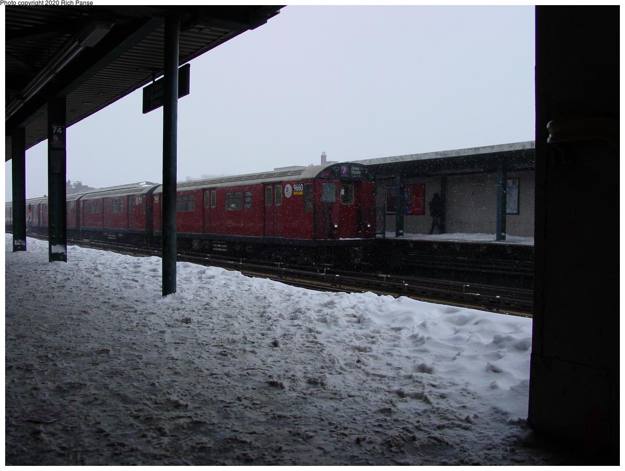 (66k, 820x620)<br><b>Country:</b> United States<br><b>City:</b> New York<br><b>System:</b> New York City Transit<br><b>Line:</b> IRT Flushing Line<br><b>Location:</b> 74th Street/Broadway <br><b>Route:</b> 7<br><b>Car:</b> R-36 World's Fair (St. Louis, 1963-64) 9660 <br><b>Photo by:</b> Richard Panse<br><b>Date:</b> 2/17/2003<br><b>Viewed (this week/total):</b> 1 / 3238