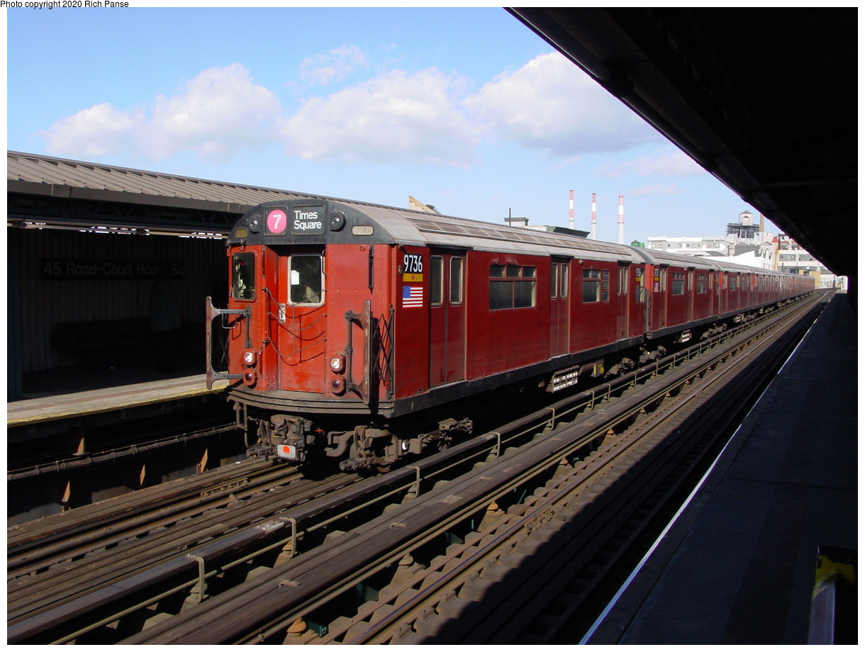 (77k, 820x620)<br><b>Country:</b> United States<br><b>City:</b> New York<br><b>System:</b> New York City Transit<br><b>Line:</b> IRT Flushing Line<br><b>Location:</b> Court House Square/45th Road <br><b>Route:</b> 7<br><b>Car:</b> R-36 World's Fair (St. Louis, 1963-64) 9736 <br><b>Photo by:</b> Richard Panse<br><b>Date:</b> 1/20/2003<br><b>Viewed (this week/total):</b> 0 / 4369