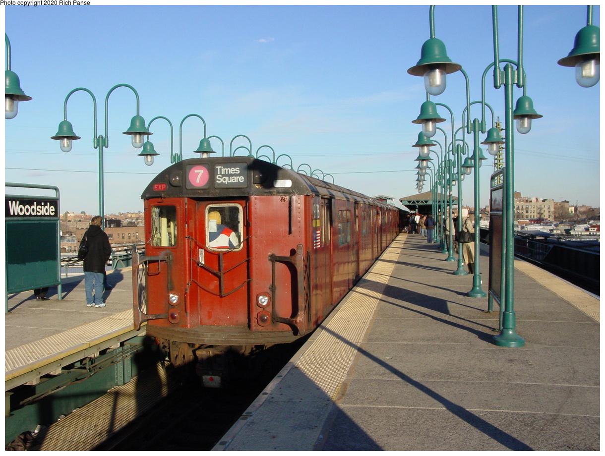 (83k, 820x620)<br><b>Country:</b> United States<br><b>City:</b> New York<br><b>System:</b> New York City Transit<br><b>Line:</b> IRT Flushing Line<br><b>Location:</b> 61st Street/Woodside <br><b>Route:</b> 7<br><b>Car:</b> R-36 World's Fair (St. Louis, 1963-64) 9736 <br><b>Photo by:</b> Richard Panse<br><b>Date:</b> 2/5/2003<br><b>Viewed (this week/total):</b> 0 / 2923