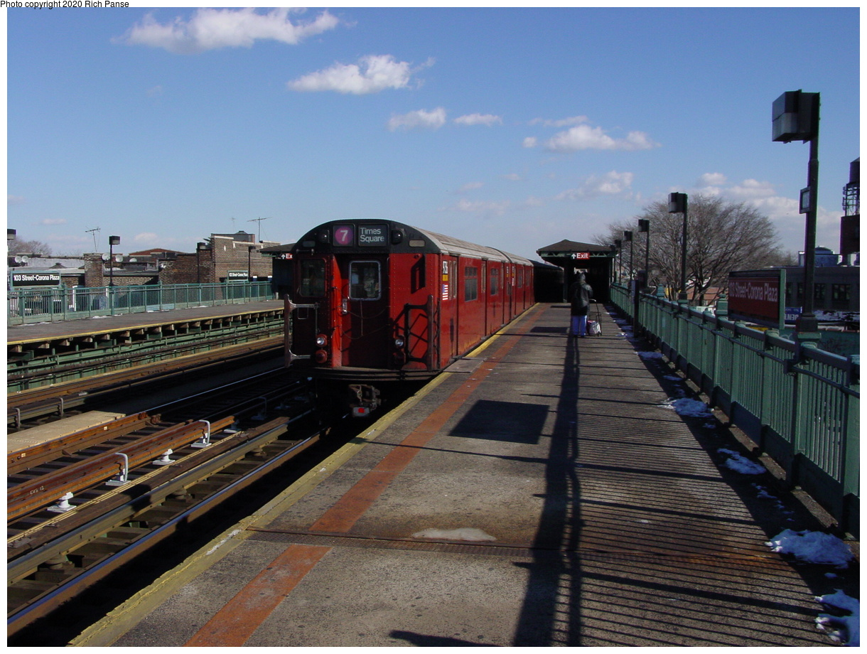 (80k, 820x620)<br><b>Country:</b> United States<br><b>City:</b> New York<br><b>System:</b> New York City Transit<br><b>Line:</b> IRT Flushing Line<br><b>Location:</b> 103rd Street/Corona Plaza <br><b>Route:</b> 7<br><b>Car:</b> R-36 World's Fair (St. Louis, 1963-64) 9753-9752 <br><b>Photo by:</b> Richard Panse<br><b>Date:</b> 1/20/2003<br><b>Viewed (this week/total):</b> 5 / 5075