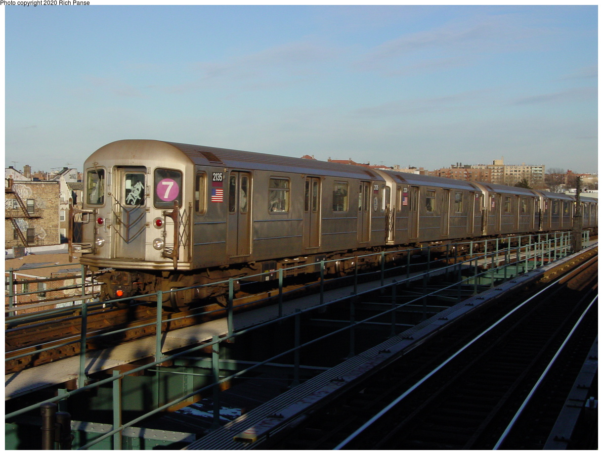 (68k, 820x620)<br><b>Country:</b> United States<br><b>City:</b> New York<br><b>System:</b> New York City Transit<br><b>Line:</b> IRT Flushing Line<br><b>Location:</b> 61st Street/Woodside <br><b>Route:</b> 7<br><b>Car:</b> R-62A (Bombardier, 1984-1987)  2135 <br><b>Photo by:</b> Richard Panse<br><b>Date:</b> 2/5/2003<br><b>Viewed (this week/total):</b> 0 / 2781