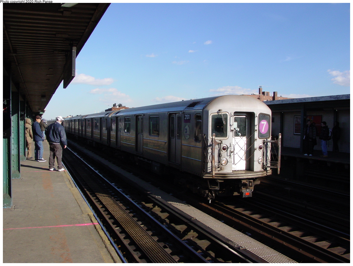 (67k, 820x620)<br><b>Country:</b> United States<br><b>City:</b> New York<br><b>System:</b> New York City Transit<br><b>Line:</b> IRT Flushing Line<br><b>Location:</b> 74th Street/Broadway <br><b>Route:</b> 7<br><b>Car:</b> R-62A (Bombardier, 1984-1987)  2101 <br><b>Photo by:</b> Richard Panse<br><b>Date:</b> 2/12/2003<br><b>Viewed (this week/total):</b> 0 / 2845