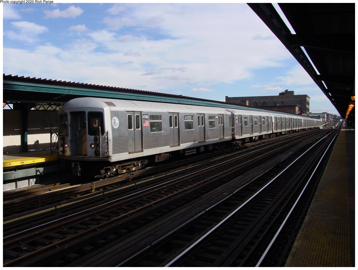 (74k, 820x620)<br><b>Country:</b> United States<br><b>City:</b> New York<br><b>System:</b> New York City Transit<br><b>Line:</b> BMT Nassau Street/Jamaica Line<br><b>Location:</b> Flushing Avenue <br><b>Route:</b> J<br><b>Car:</b> R-42 (St. Louis, 1969-1970)  4790 <br><b>Photo by:</b> Richard Panse<br><b>Date:</b> 2/5/2003<br><b>Viewed (this week/total):</b> 1 / 3847